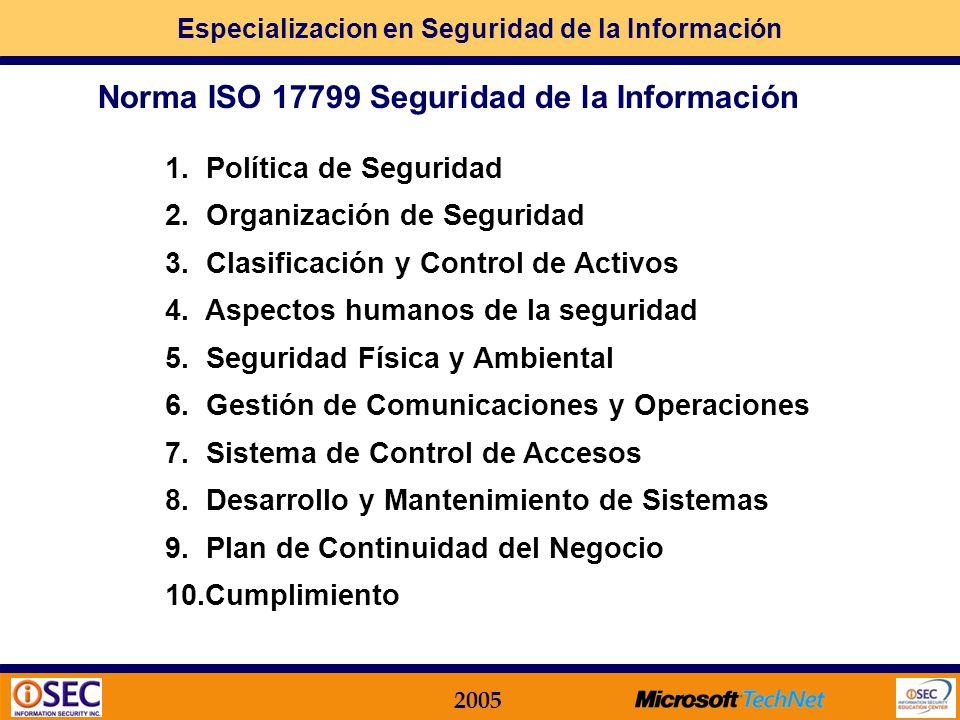 Especializacion en Seguridad de la Información 2005 Preservar la: confidencialidad: accesible sólo a aquellas personas autorizadas a tener acceso. int