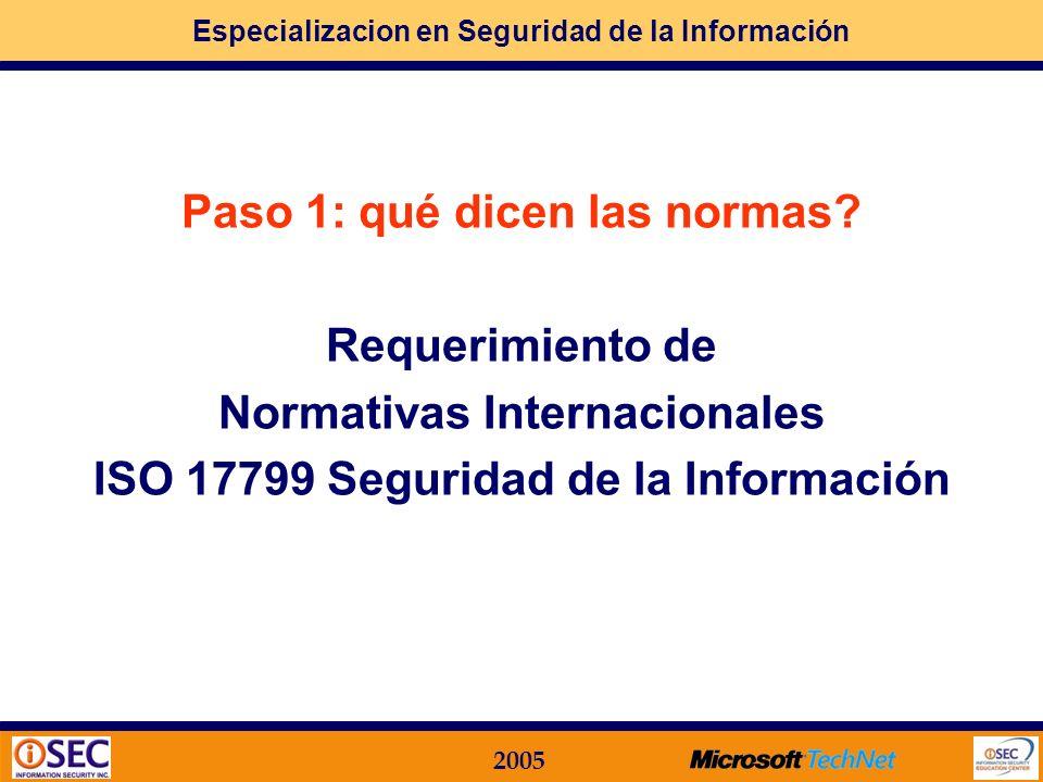 Especializacion en Seguridad de la Información 2005 EJEMPLO Módulo Funcional 02 Políticas de Seguridad Desarrollo de los temas a considerar Técnicas d