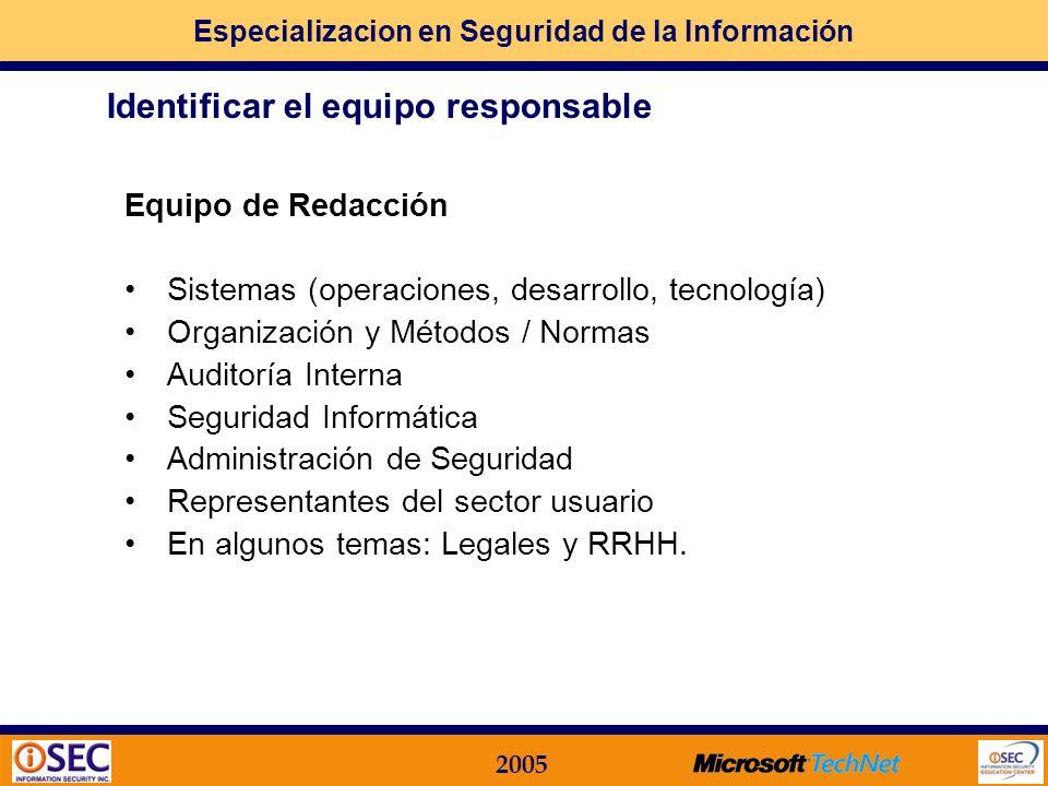 Especializacion en Seguridad de la Información 2005 Paso 2: cómo lo llevo a la práctica? Etapas Generales en el Desarrollo e Implementación de un Manu