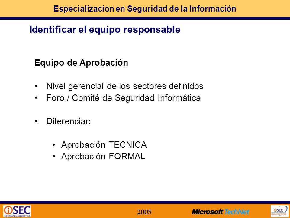 Especializacion en Seguridad de la Información 2005 Equipo de Redacción Sistemas (operaciones, desarrollo, tecnología) Organización y Métodos / Normas