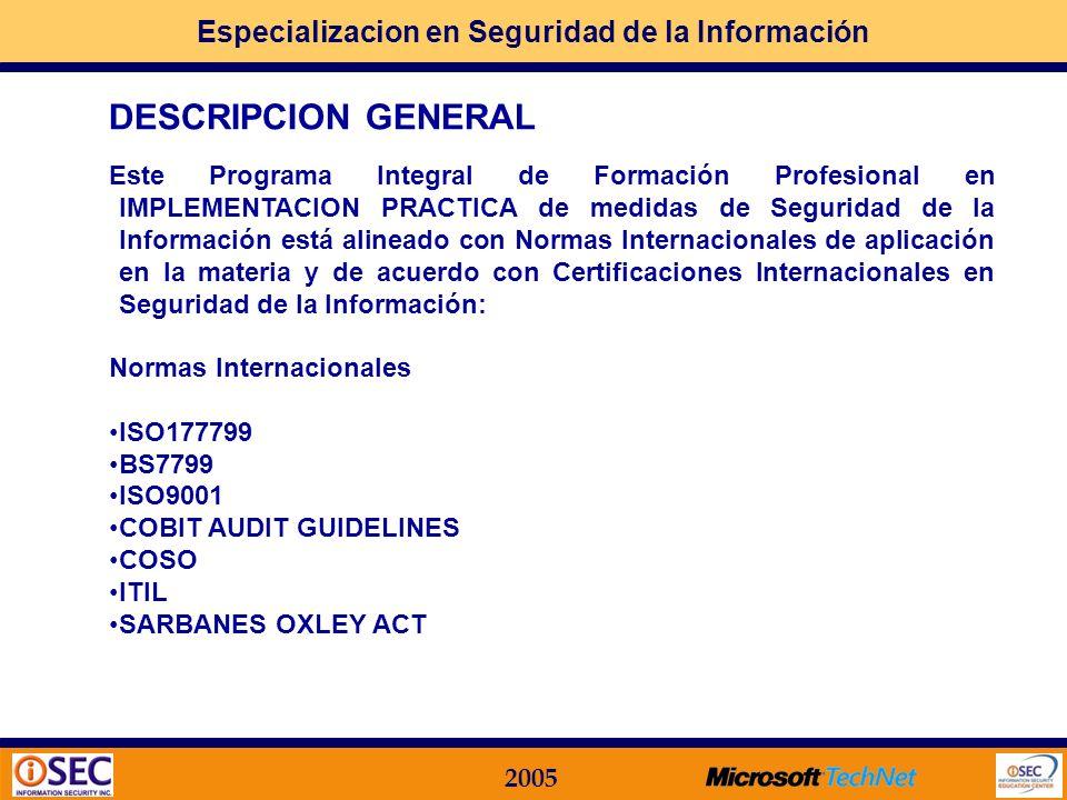 Especializacion en Seguridad de la Información 2005 Módulos Funcionales relacionados con Dominios de la ISO 17799: MF.08.