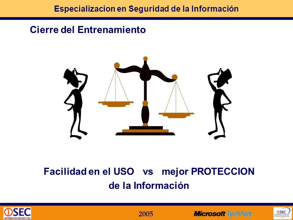 Especializacion en Seguridad de la Información 2005 MOF en el contexto de la Seguridad Importancia de un Servicio de TI Nivel de Seguridad Los proceso