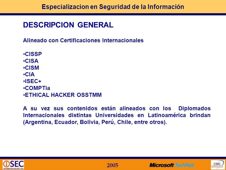 Especializacion en Seguridad de la Información 2005 DESCRIPCION GENERAL Este Programa Integral de Formación Profesional en IMPLEMENTACION PRACTICA de