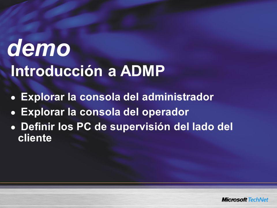 Demo Introducción a ADMP Explorar la consola del administrador Explorar la consola del operador Definir los PC de supervisión del lado del cliente demo