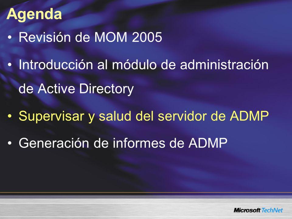 Agenda Revisión de MOM 2005 Introducción al módulo de administración de Active Directory Supervisar y salud del servidor de ADMP Generación de informes de ADMP