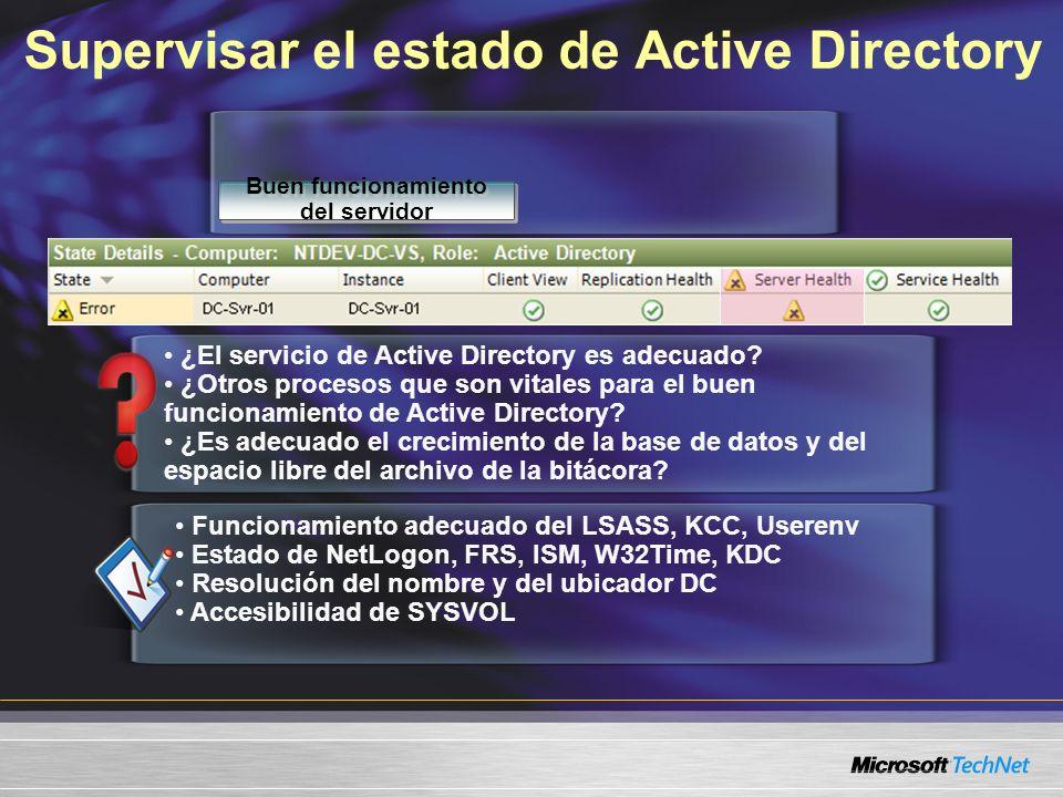 Funcionamiento adecuado del LSASS, KCC, Userenv Estado de NetLogon, FRS, ISM, W32Time, KDC Resolución del nombre y del ubicador DC Accesibilidad de SYSVOL ¿El servicio de Active Directory es adecuado.