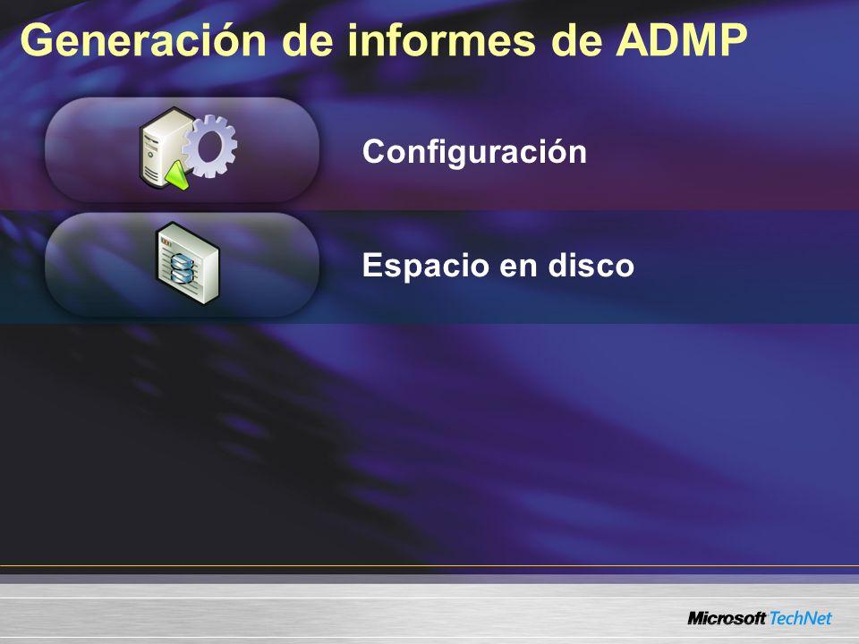 Generación de informes de ADMP Configuración Espacio en disco
