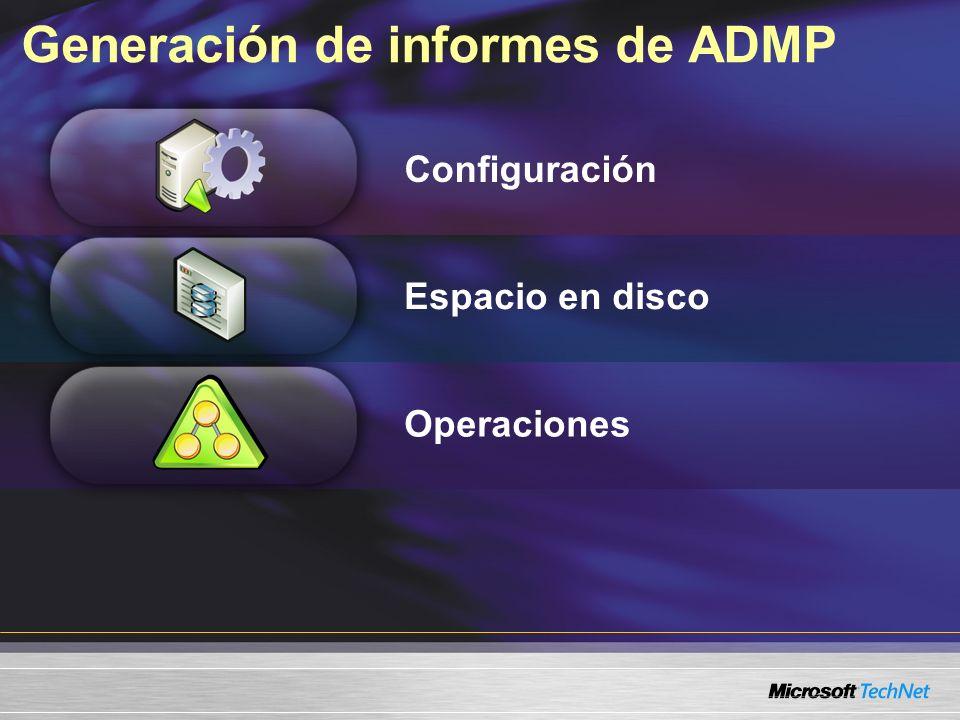 Generación de informes de ADMP Configuración Espacio en disco Operaciones