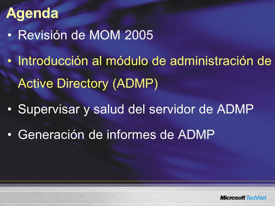 Agenda Revisión de MOM 2005 Introducción al módulo de administración de Active Directory (ADMP) Supervisar y salud del servidor de ADMP Generación de informes de ADMP