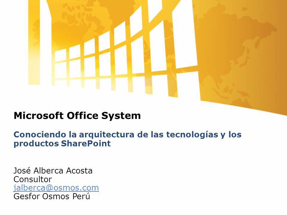 Microsoft Office System Conociendo la arquitectura de las tecnologías y los productos SharePoint José Alberca Acosta Consultor jalberca@osmos.com Gesf