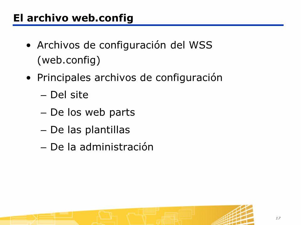 17 El archivo web.config Archivos de configuración del WSS (web.config) Principales archivos de configuración – Del site – De los web parts – De las p