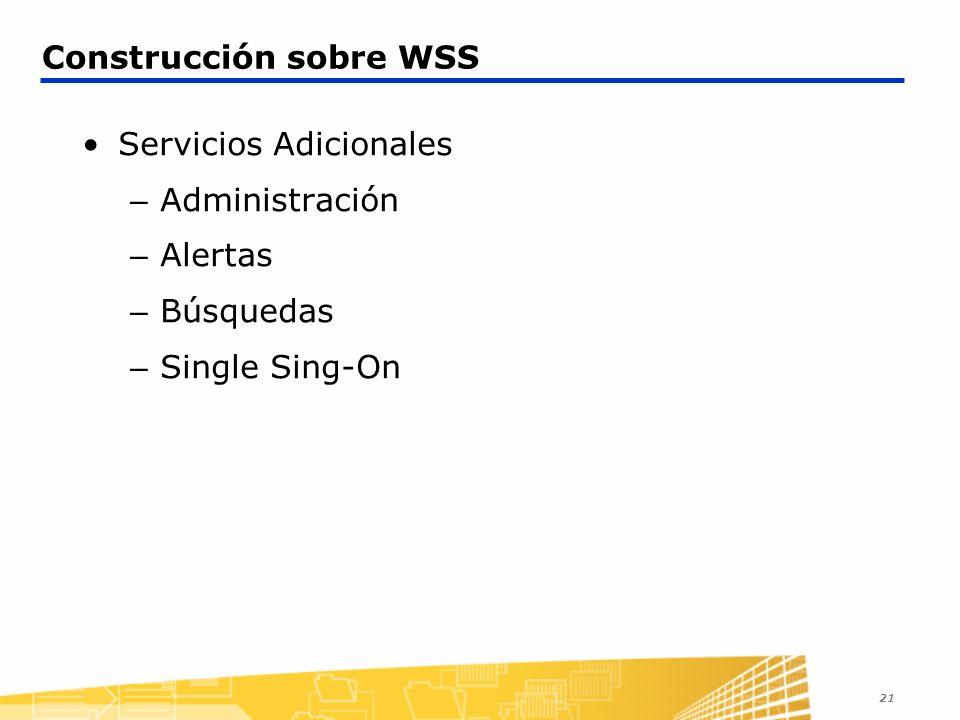 21 Construcción sobre WSS Servicios Adicionales – Administración – Alertas – Búsquedas – Single Sing-On