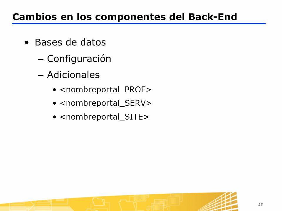 23 Cambios en los componentes del Back-End Bases de datos – Configuración – Adicionales