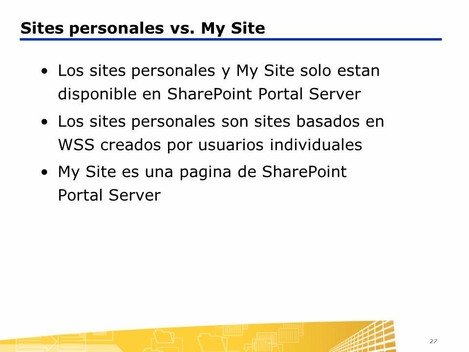 27 Sites personales vs. My Site Los sites personales y My Site solo estan disponible en SharePoint Portal Server Los sites personales son sites basado