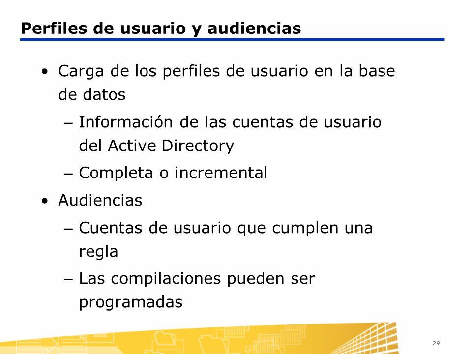 29 Perfiles de usuario y audiencias Carga de los perfiles de usuario en la base de datos – Información de las cuentas de usuario del Active Directory
