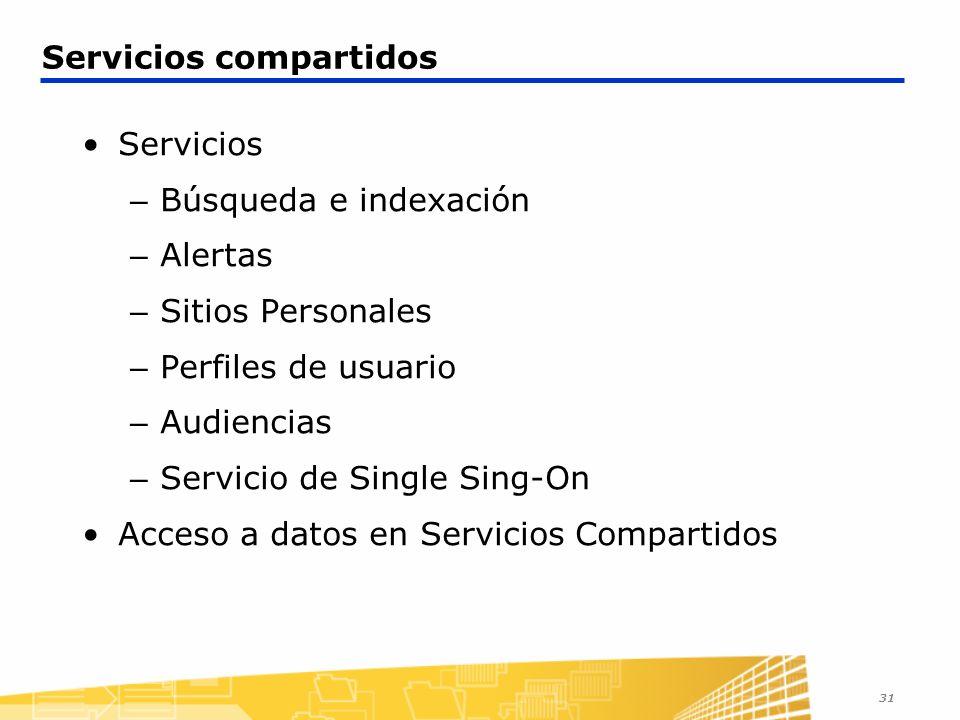 31 Servicios compartidos Servicios – Búsqueda e indexación – Alertas – Sitios Personales – Perfiles de usuario – Audiencias – Servicio de Single Sing-