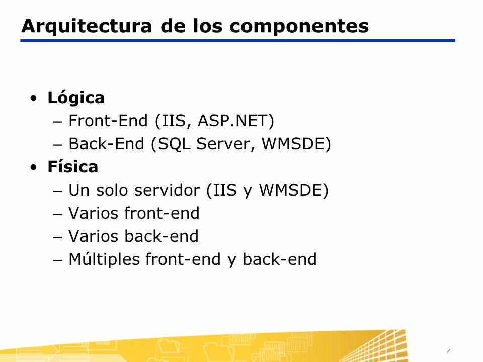 7 Arquitectura de los componentes Lógica – Front-End (IIS, ASP.NET) – Back-End (SQL Server, WMSDE) Física – Un solo servidor (IIS y WMSDE) – Varios fr