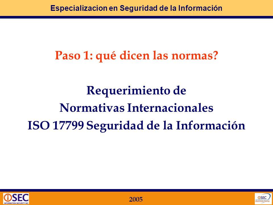 Especializacion en Seguridad de la Información 2005 MF 07: Sistemas de Control de Accesos Requerimientos ISO 17799 Definición de Sistemas de Control d