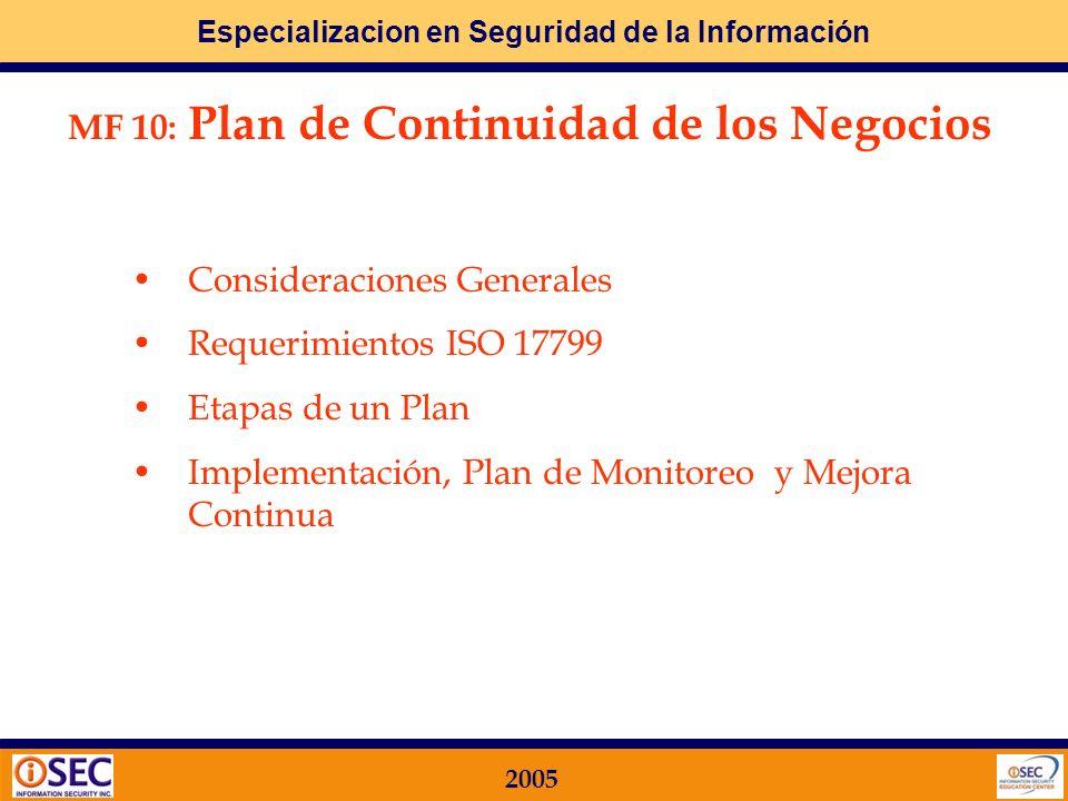 Especializacion en Seguridad de la Información 2005 Paso 2: cómo lo llevo a la práctica? Participación en Proyectos de Desarrollo e Implementación Pri