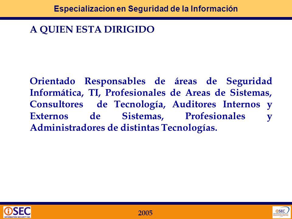Especializacion en Seguridad de la Información 2005 A QUIEN ESTA DIRIGIDO Orientado Responsables de áreas de Seguridad Informática, TI, Profesionales de Areas de Sistemas, Consultores de Tecnología, Auditores Internos y Externos de Sistemas, Profesionales y Administradores de distintas Tecnologías.