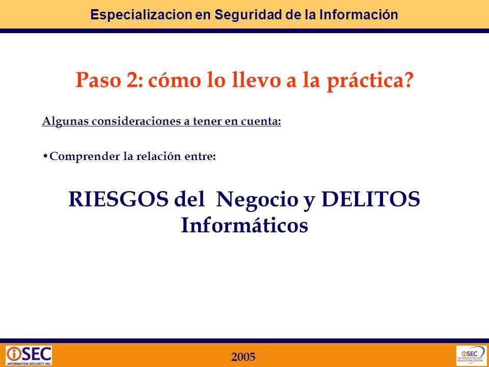 Especializacion en Seguridad de la Información 2005 Paso 2: cómo lo llevo a la práctica? Algunas consideraciones a tener en cuenta: Actitud Preventiva