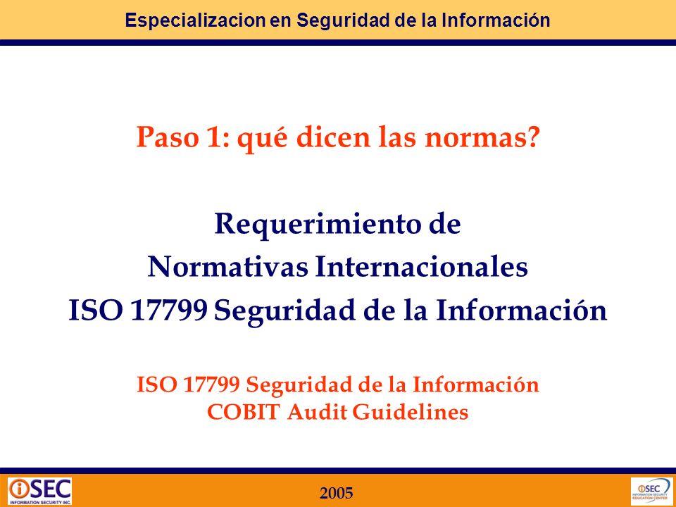 Especializacion en Seguridad de la Información 2005 MF.12. Auditoría de Sistemas O bjetivos y metodologías Plan de Auditoría Anual según ISO 17799 y C