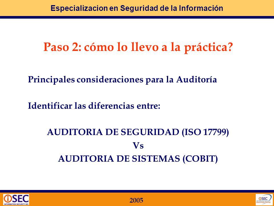 Especializacion en Seguridad de la Información 2005 Metodologías aplicables COBIT AUDIT GUIDELINES: Comprenden una serie de Objetivos de Control a cum