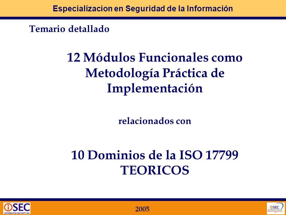 Especializacion en Seguridad de la Información 2005 12 Módulos Funcionales como Metodología Práctica de Implementación relacionados con 10 Dominios de la ISO 17799 TEORICOS Temario detallado