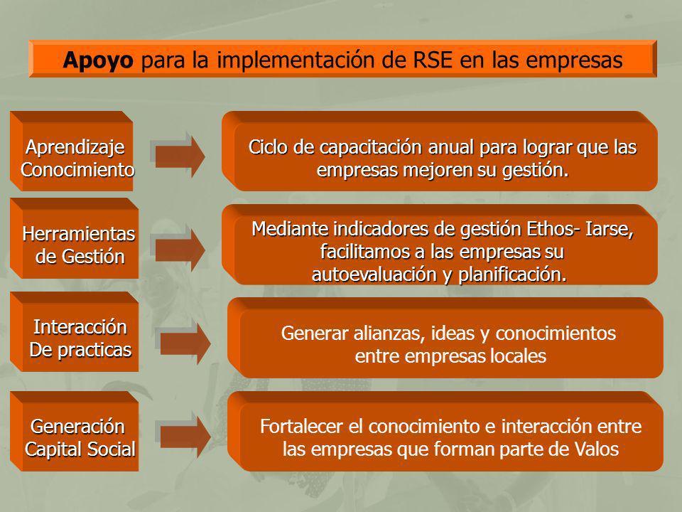 Apoyo para la implementación de RSE en las empresas AprendizajeConocimiento Herramientas de Gestión Interacción De practicas Generación Capital Social