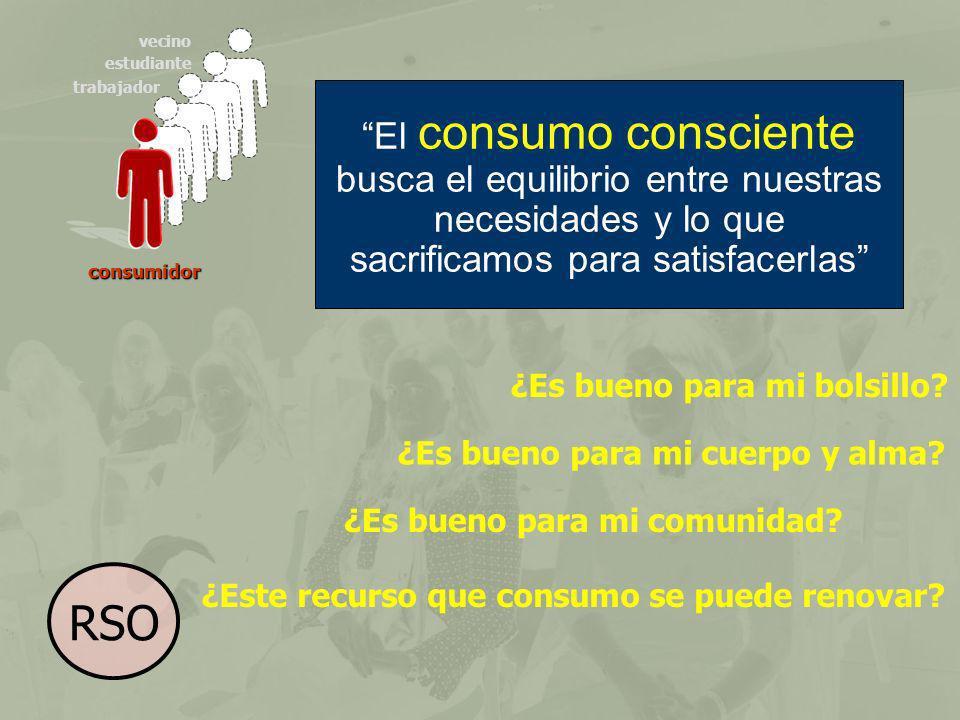 consumidor trabajador estudiante vecino El consumo consciente busca el equilibrio entre nuestras necesidades y lo que sacrificamos para satisfacerlas