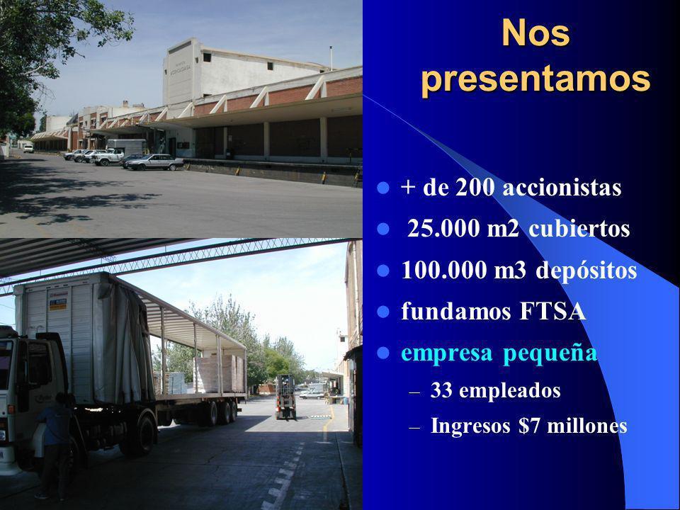 Nos presentamos + de 200 accionistas 25.000 m2 cubiertos 100.000 m3 depósitos fundamos FTSA empresa pequeña – 33 empleados – Ingresos $7 millones