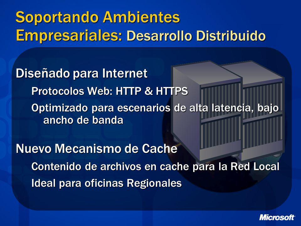 Soportando Ambientes Empresariales: Desarrollo Distribuido Diseñado para Internet Protocolos Web: HTTP & HTTPS Optimizado para escenarios de alta late