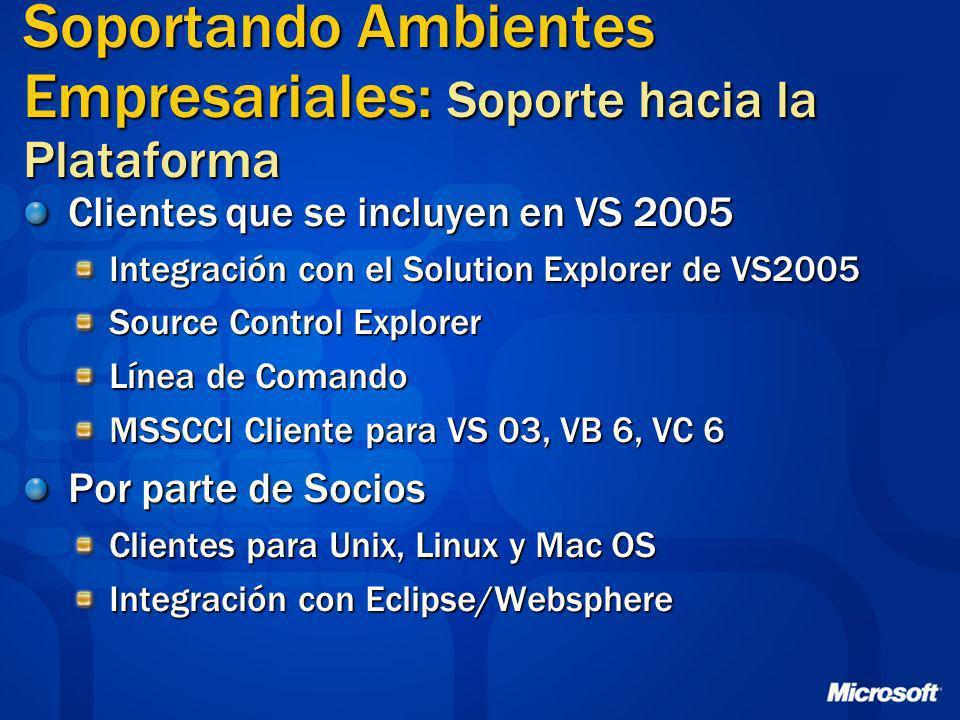 Soportando Ambientes Empresariales: Soporte hacia la Plataforma Clientes que se incluyen en VS 2005 Integración con el Solution Explorer de VS2005 Sou