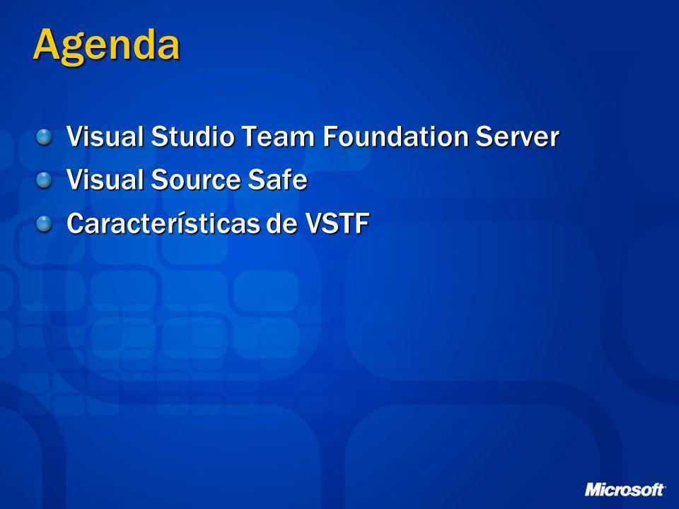 Agenda Visual Studio Team Foundation Server Visual Source Safe Características de VSTF