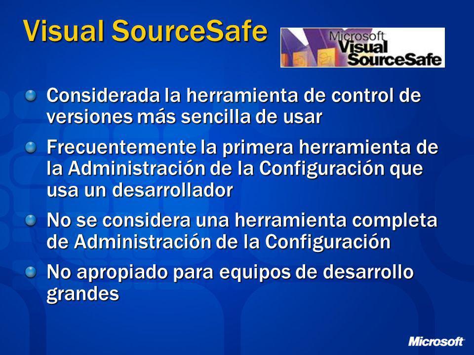 Visual SourceSafe Considerada la herramienta de control de versiones más sencilla de usar Frecuentemente la primera herramienta de la Administración d