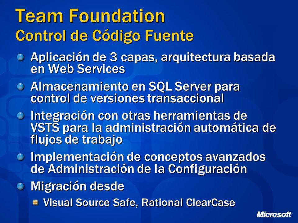 Team Foundation Control de Código Fuente Aplicación de 3 capas, arquitectura basada en Web Services Almacenamiento en SQL Server para control de versi
