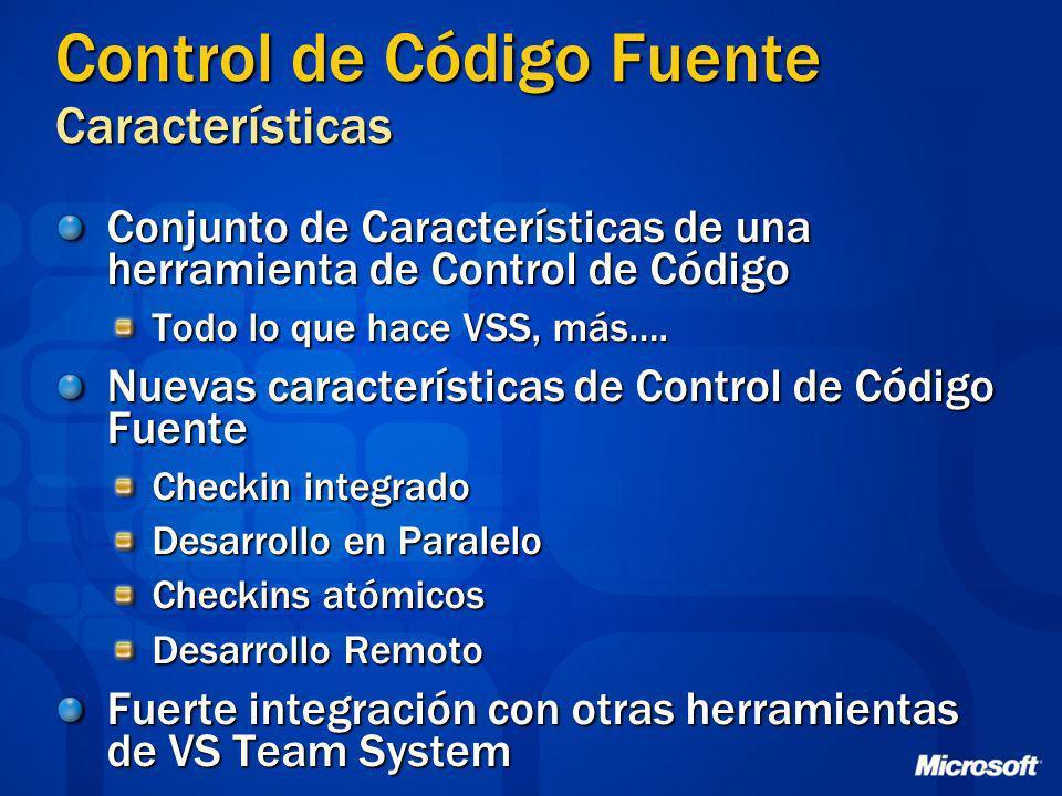 Control de Código Fuente Características Conjunto de Características de una herramienta de Control de Código Todo lo que hace VSS, más…. Nuevas caract