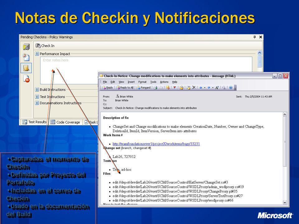 Notas de Checkin y Notificaciones Capturadas el momento de CheckInCapturadas el momento de CheckIn Definidas por Proyecto del PortafolioDefinidas por