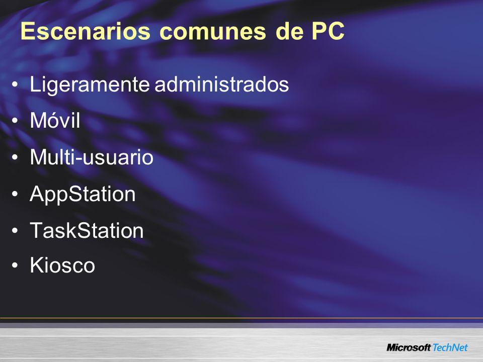 Escenarios comunes de PC Ligeramente administrados Móvil Multi-usuario AppStation TaskStation Kiosco