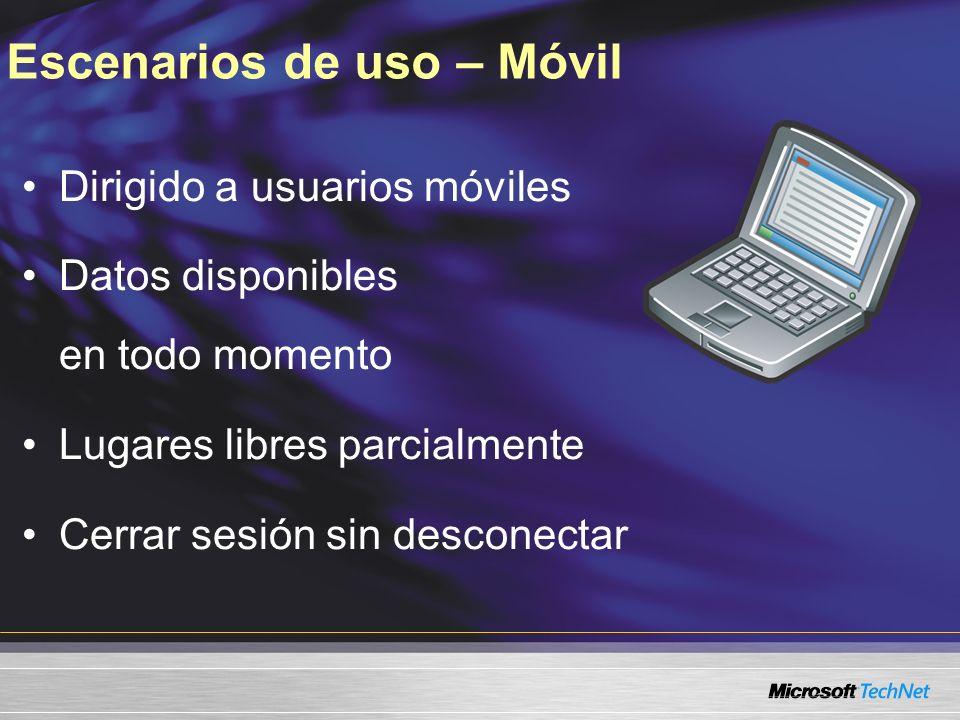 Escenarios de uso – Móvil Dirigido a usuarios móviles Datos disponibles en todo momento Lugares libres parcialmente Cerrar sesión sin desconectar
