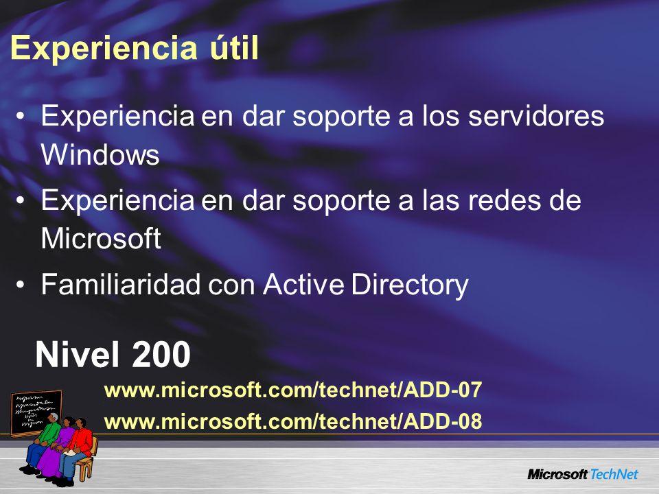 Experiencia útil Nivel 200 Experiencia en dar soporte a los servidores Windows Experiencia en dar soporte a las redes de Microsoft Familiaridad con Active Directory www.microsoft.com/technet/ADD-07 www.microsoft.com/technet/ADD-08