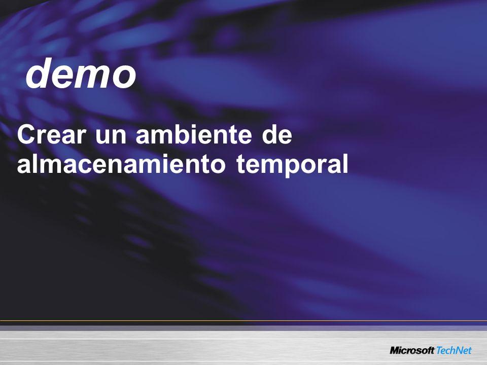 Demo Crear un ambiente de almacenamiento temporal demo