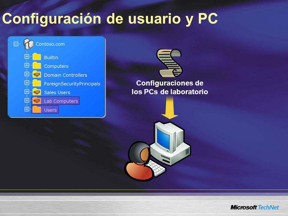 Configuraciones de los PCs de laboratorio