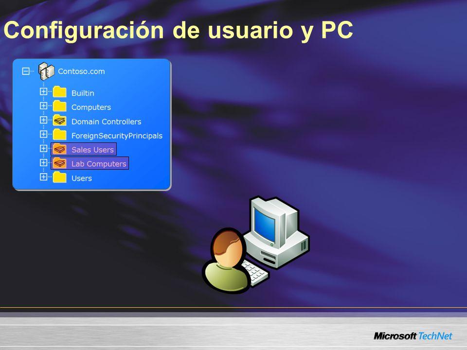 Configuración de usuario y PC