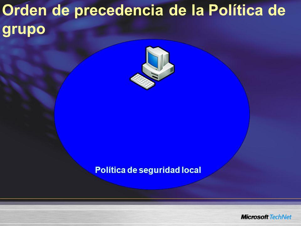 Política de seguridad local Orden de precedencia de la Política de grupo