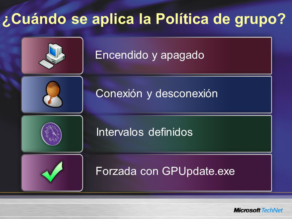 ¿Cuándo se aplica la Política de grupo? Encendido y apagado Conexión y desconexión Intervalos definidos Forzada con GPUpdate.exe