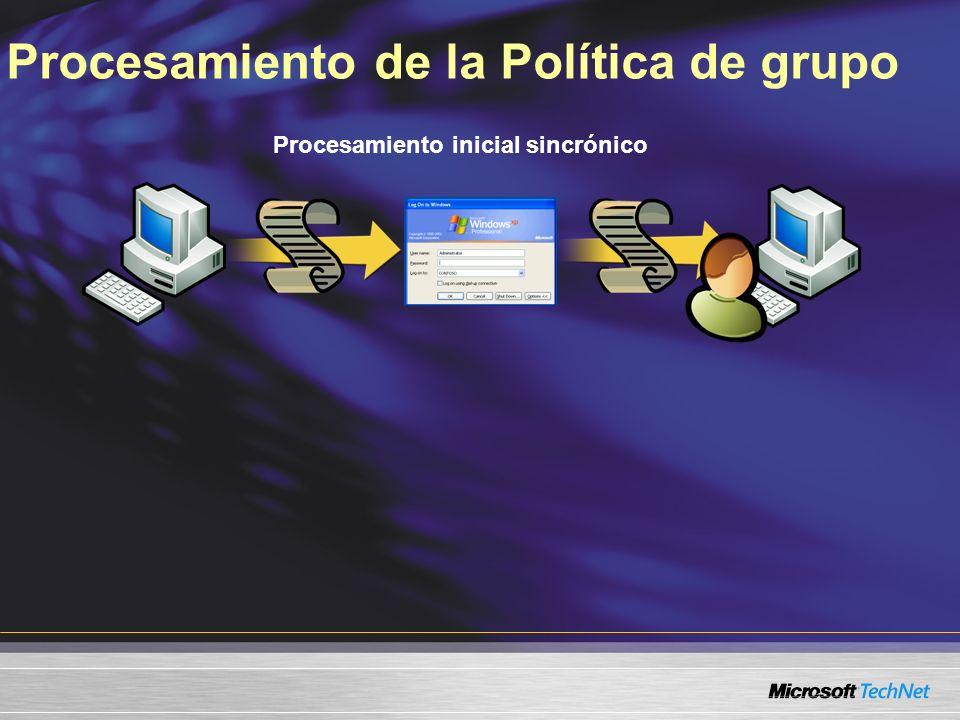 Procesamiento de la Política de grupo Procesamiento inicial sincrónico