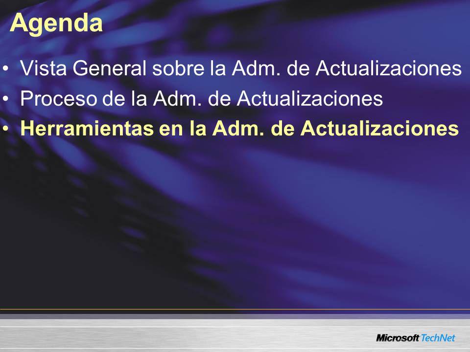 Agenda Vista General sobre la Adm. de Actualizaciones Proceso de la Adm. de Actualizaciones Herramientas en la Adm. de Actualizaciones