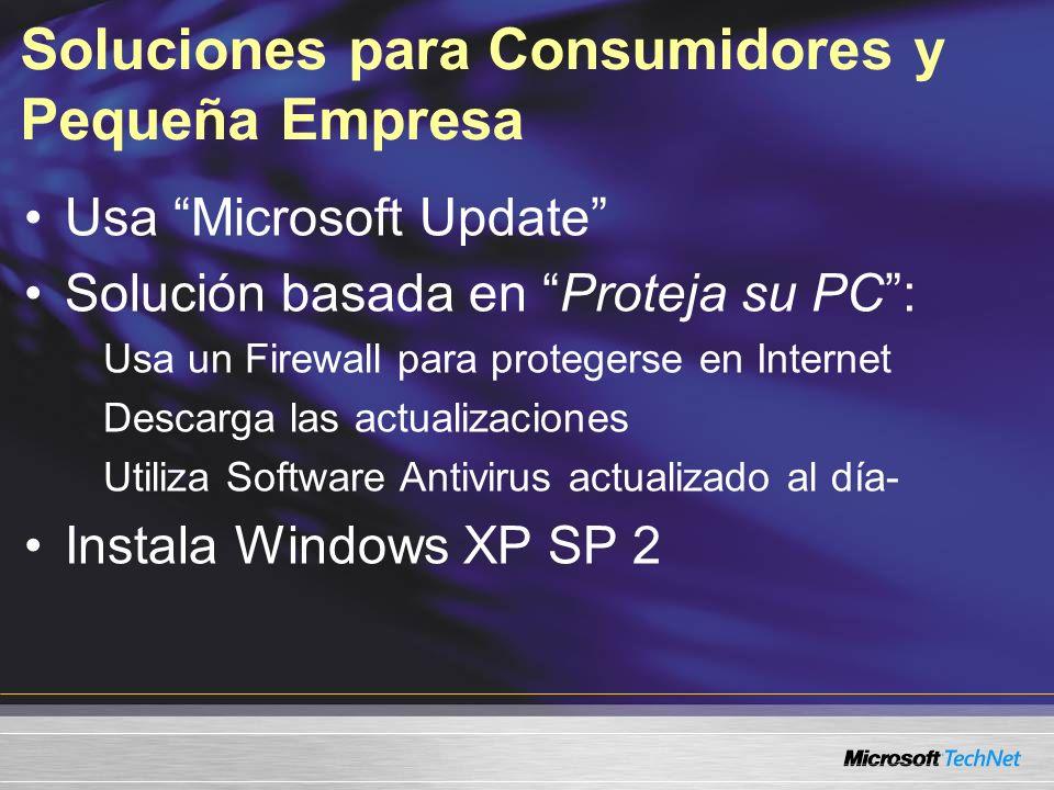 Soluciones para Consumidores y Pequeña Empresa Usa Microsoft Update Solución basada en Proteja su PC: Usa un Firewall para protegerse en Internet Desc