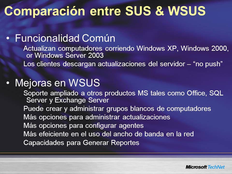 Comparación entre SUS & WSUS Funcionalidad Común Actualizan computadores corriendo Windows XP, Windows 2000, or Windows Server 2003 Los clientes desca